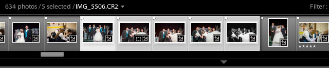 To multi select images, click one image and get it selected in Lightroom. Then, hold shift and click an image somewhere down the filmstrip, and all images will be selected in between.