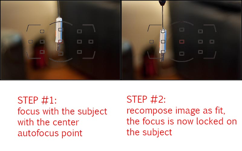 We wish to use the center autofocus point to focus on the subject at first, but are free to later compose as we wish after the AF lock engages. This is called pre-focusing.