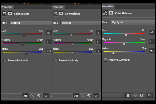 The Colour Balance settings, as explained below.