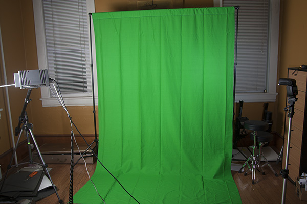My green screen on its first hanging.
