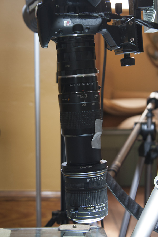 Humonstrous frankenlens; 18-50, 80-200, 2x teleconverter, and around 50mm of extension tubes (from bottom to top).