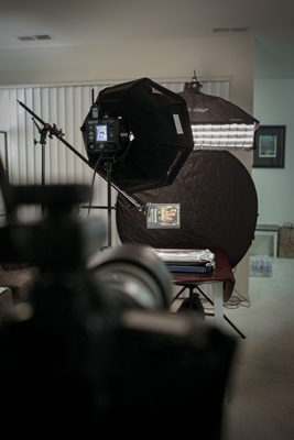 The setup from the camera's position. I zoomed in tightly with my 70-200mm lens so that any lighting or grip gear was either out of frame or at the edges for easy retouching.