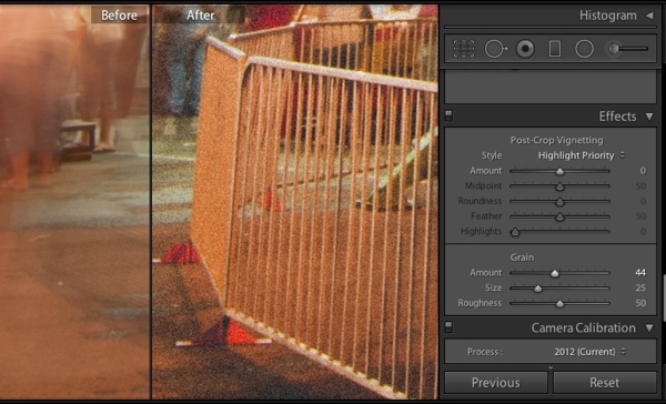 Working at 100% and adding grain slowly ensures that you don't apply too much. Use the sliders to fine tune the character of the grain in your photos.