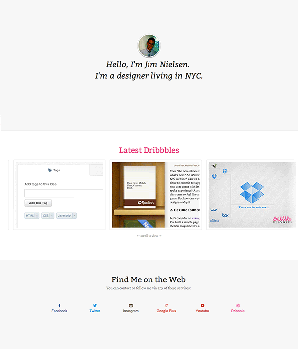 Screenshot of a Responsive, Single Page Portfolio via Tuts+ Premium