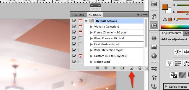 First, ensure that you open the actions panel using the Window menu. Next, create a new action by pressing the button to the left of the trash bin.