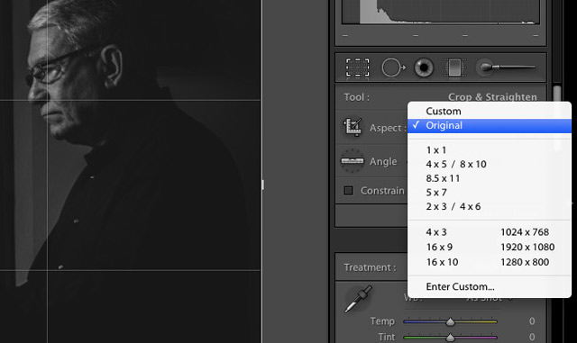"For each of these, we need to change the aspect ratio fo the crop by clicking on ""custom"" or ""original"" to the left of the padlock. Select the desired crop aspect ratio, and Lightroom will now allow you to use that selected ratio in the cropping process."
