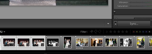 "After multi selecting images, the button below the editing settings on the right side of Lightroom will say ""Sync."" Press it to get started with syncing settings."