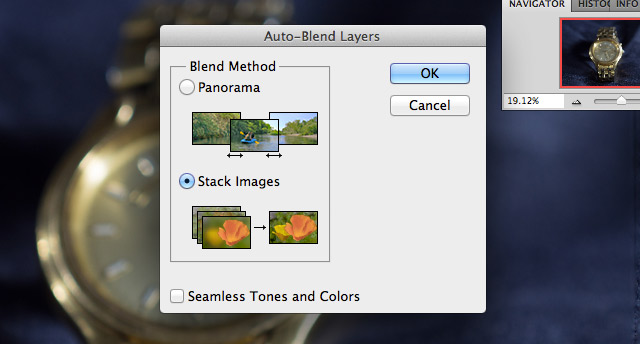 "After making sure that all of our layers are selected, we use Edit -> Auto Blend Layers to bring up the option to focus stack. We leave the setting on ""Stack Images"" and it automatically handles the focus stacking process."