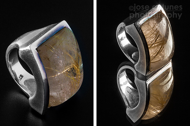 Using a plain dark background or a mirror create different images of the same ring