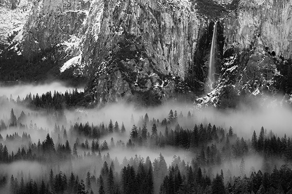 Ahwahnee Dream - Bridalveil Falls and Yosemite Valley floor in fog, Yosemite National Park, California