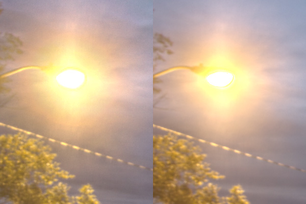 3-exp on the left, 8-exp on the right. A noticable improvement in detail, flare, posterisation and noise levels. Just what we were after!