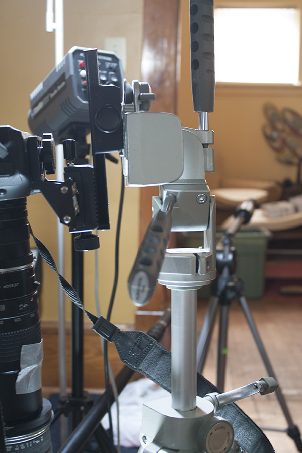 Nice big solid tripod (not sure what it's for, but it was only about $5) and macro rails.