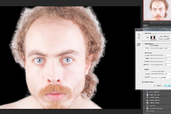Let's use this picture of me with crazy hair while I was testing horizontal clamshell lighting for a potential shoot...