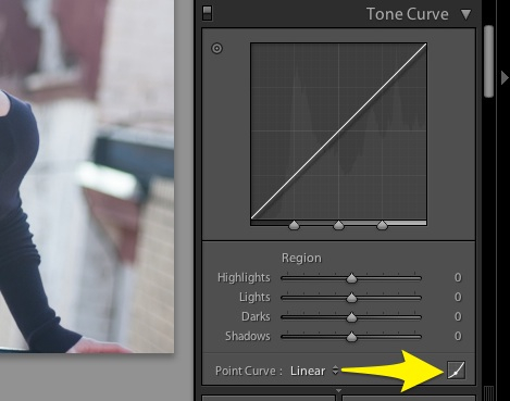 Press this button at the lower right hand corner of the tone curve panel to begin adjusting curves.